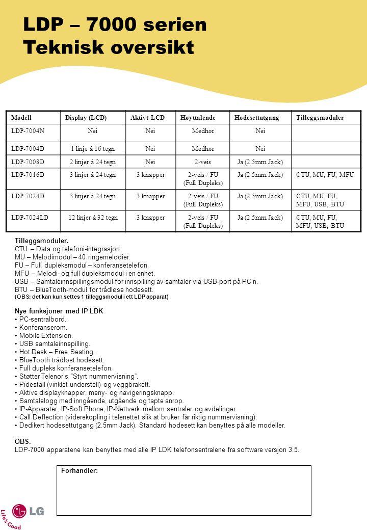 LDP – 7000 serien Teknisk oversikt Tilleggsmoduler. CTU – Data og telefoni-integrasjon. MU – Melodimodul – 40 ringemelodier. FU – Full dupleksmodul –