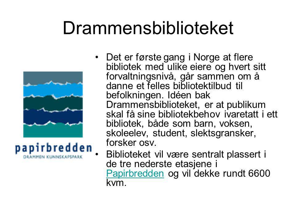 Drammensbiblioteket •Det er første gang i Norge at flere bibliotek med ulike eiere og hvert sitt forvaltningsnivå, går sammen om å danne et felles bibliotektilbud til befolkningen.