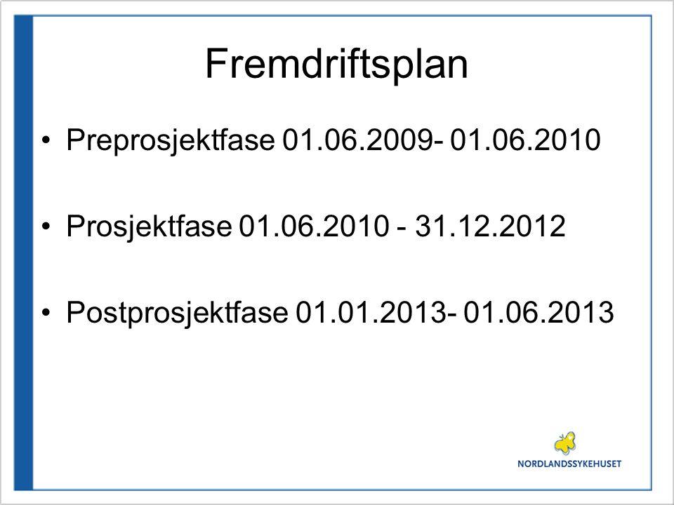Fremdriftsplan •Preprosjektfase 01.06.2009- 01.06.2010 •Prosjektfase 01.06.2010 - 31.12.2012 •Postprosjektfase 01.01.2013- 01.06.2013