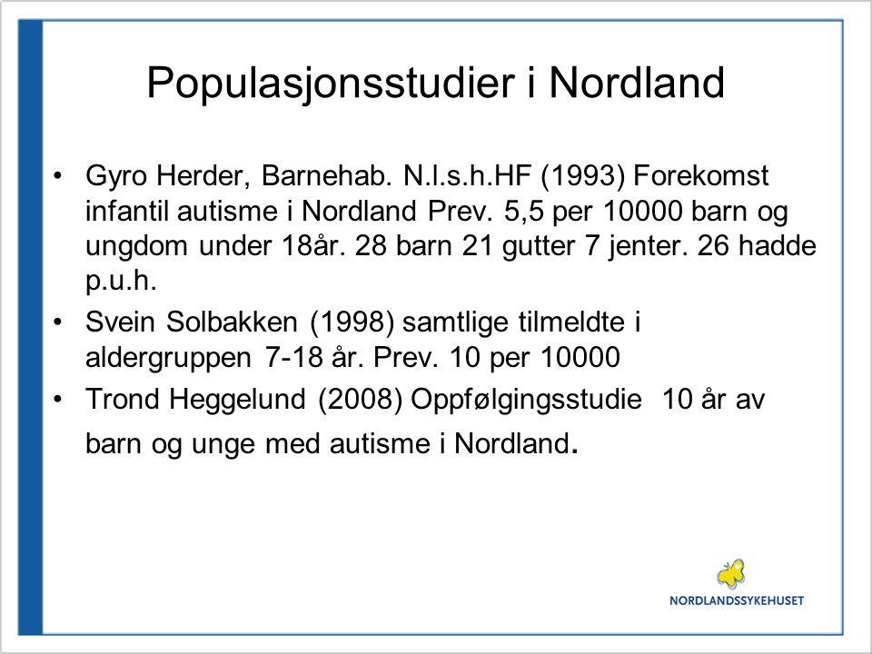 Populasjonsstudier i Nordland •Gyro Herder, Barnehab. N.l.s.h.HF (1993) Forekomst infantil autisme i Nordland Prev. 5,5 per 10000 barn og ungdom under