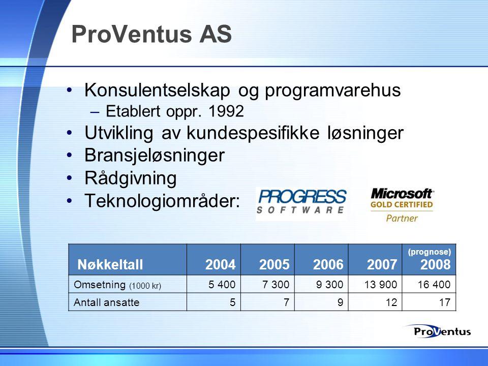 ProVentus AS •Konsulentselskap og programvarehus –Etablert oppr. 1992 •Utvikling av kundespesifikke løsninger •Bransjeløsninger •Rådgivning •Teknologi