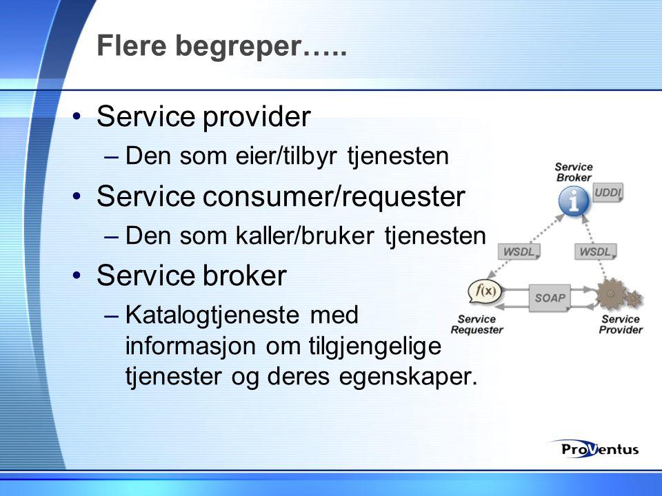 Flere begreper….. •Service provider –Den som eier/tilbyr tjenesten •Service consumer/requester –Den som kaller/bruker tjenesten •Service broker –Katal