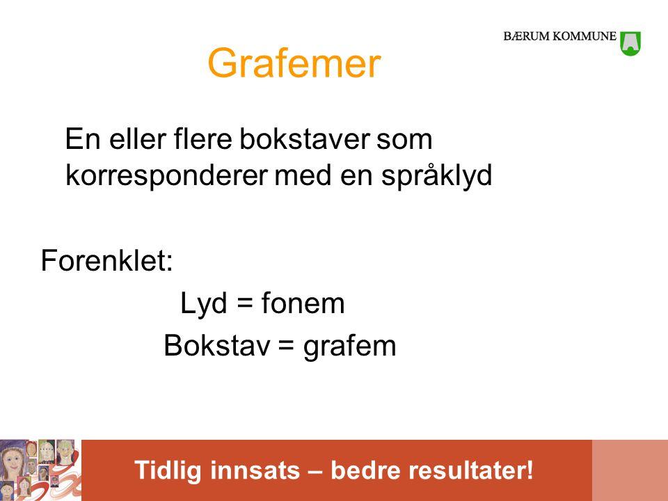 Tidlig innsats – bedre resultater! Grafemer En eller flere bokstaver som korresponderer med en språklyd Forenklet: Lyd = fonem Bokstav = grafem