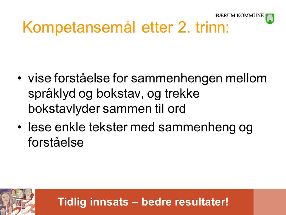 Tidlig innsats – bedre resultater! Kompetansemål etter 2. trinn: •vise forståelse for sammenhengen mellom språklyd og bokstav, og trekke bokstavlyder