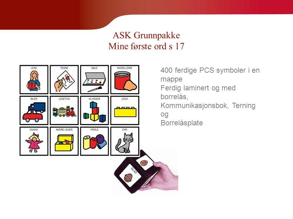 ASK Grunnpakke Mine første ord s 17 400 ferdige PCS symboler i en mappe Ferdig laminert og med borrelås, Kommunikasjonsbok, Terning og Borrelåsplate