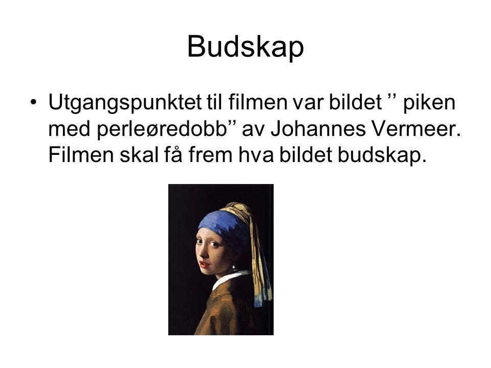 Budskap •Utgangspunktet til filmen var bildet '' piken med perleøredobb'' av Johannes Vermeer. Filmen skal få frem hva bildet budskap.
