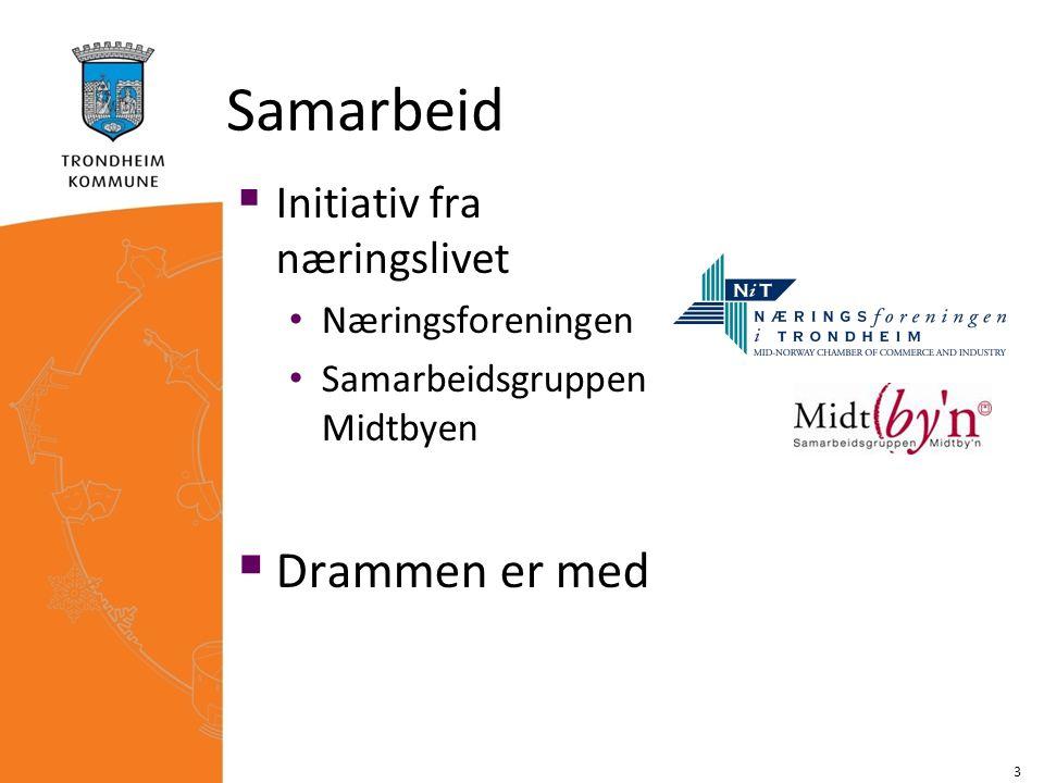 Prosjekt  Målsetting: Et forpliktende samarbeid mellom byens myndigheter og næringsliv om utvikling av et miljømessig godt sentrum som også er økonomisk vitalt Erfaringsutveksling, samarbeid og læring mellom Drammen og Trondheim 1.