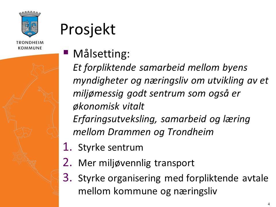 Prosjekt  Målsetting: Et forpliktende samarbeid mellom byens myndigheter og næringsliv om utvikling av et miljømessig godt sentrum som også er økonom