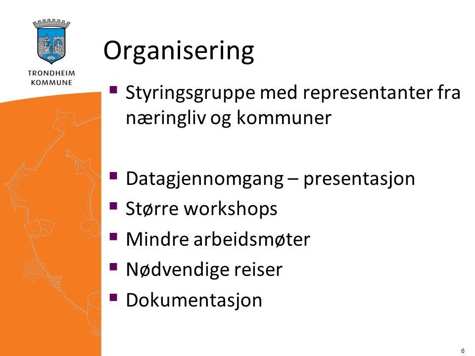 Organisering  Styringsgruppe med representanter fra næringliv og kommuner  Datagjennomgang – presentasjon  Større workshops  Mindre arbeidsmøter 
