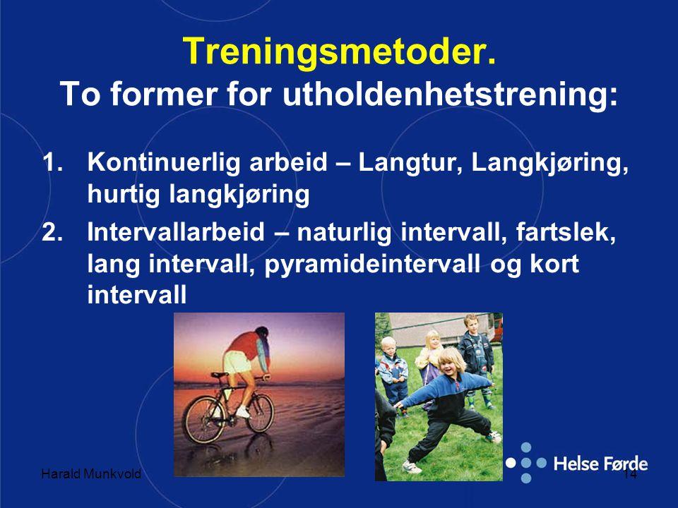 Harald Munkvold14 Treningsmetoder. To former for utholdenhetstrening: 1.Kontinuerlig arbeid – Langtur, Langkjøring, hurtig langkjøring 2.Intervallarbe