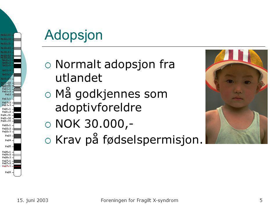 15. juni 2003Foreningen for Fragilt X-syndrom5 Adopsjon  Normalt adopsjon fra utlandet  Må godkjennes som adoptivforeldre  NOK 30.000,-  Krav på f