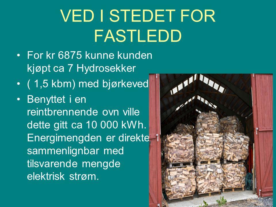 VED I STEDET FOR FASTLEDD •For kr 6875 kunne kunden kjøpt ca 7 Hydrosekker •( 1,5 kbm) med bjørkeved.