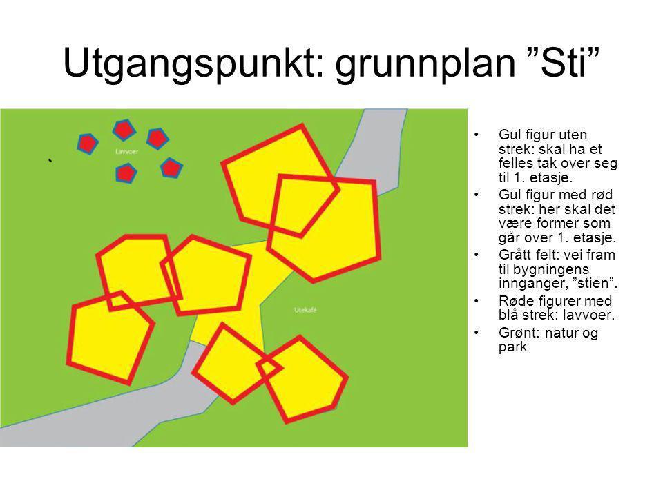 """Utgangspunkt: grunnplan """"Sti"""" •Gul figur uten strek: skal ha et felles tak over seg til 1. etasje. •Gul figur med rød strek: her skal det være former"""