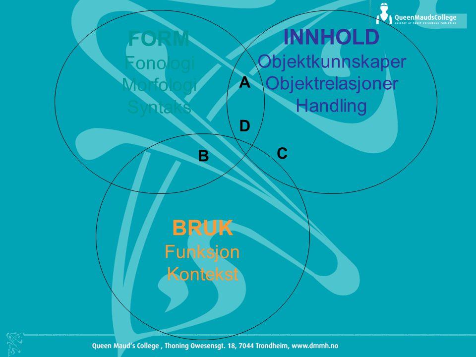 INNHOLD Objektkunnskaper Objektrelasjoner Handling BRUK Funksjon Kontekst FORM Fonologi Morfologi Syntaks A B C D