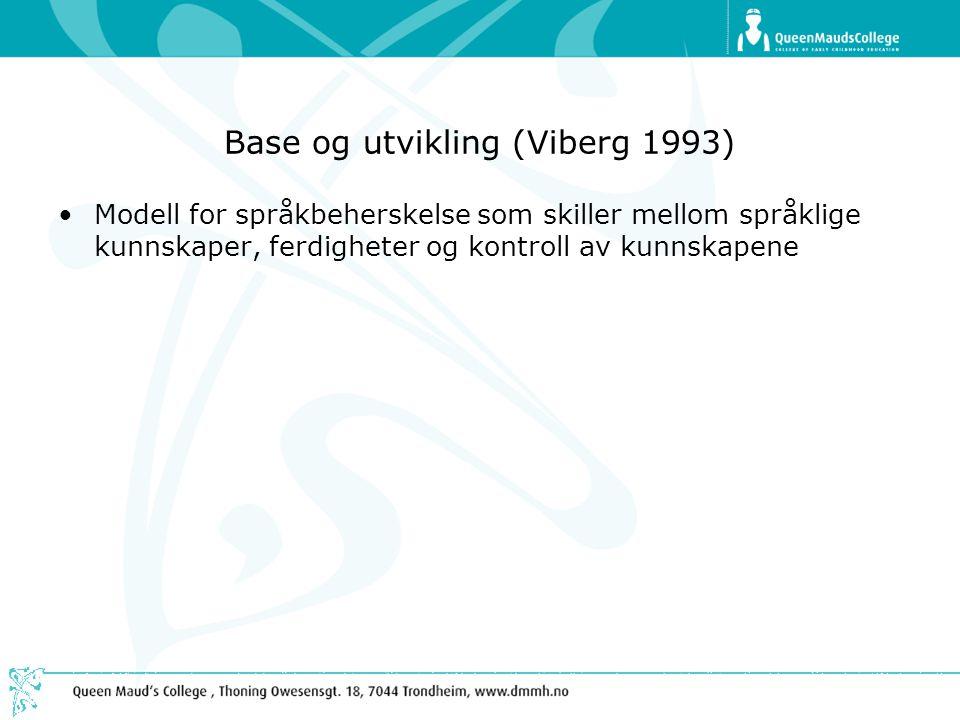 Base og utvikling (Viberg 1993) •Modell for språkbeherskelse som skiller mellom språklige kunnskaper, ferdigheter og kontroll av kunnskapene