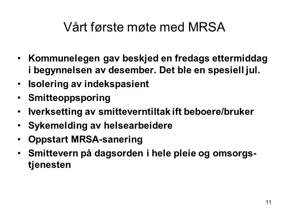 11 Vårt første møte med MRSA •Kommunelegen gav beskjed en fredags ettermiddag i begynnelsen av desember. Det ble en spesiell jul. •Isolering av indeks