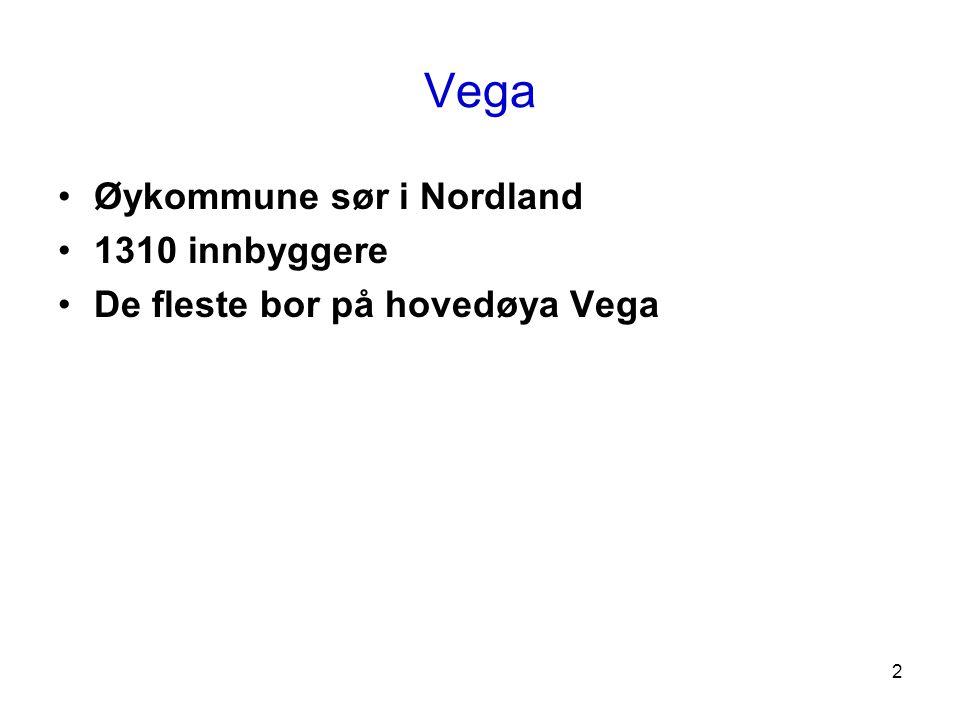 2 Vega •Øykommune sør i Nordland •1310 innbyggere •De fleste bor på hovedøya Vega