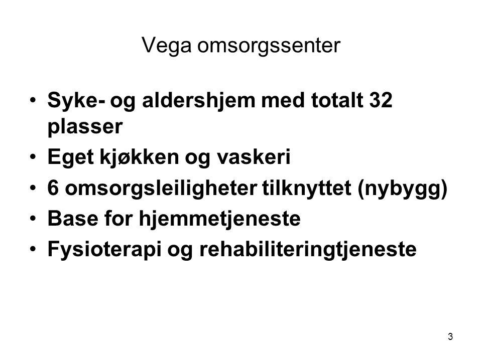 3 Vega omsorgssenter •Syke- og aldershjem med totalt 32 plasser •Eget kjøkken og vaskeri •6 omsorgsleiligheter tilknyttet (nybygg) •Base for hjemmetje
