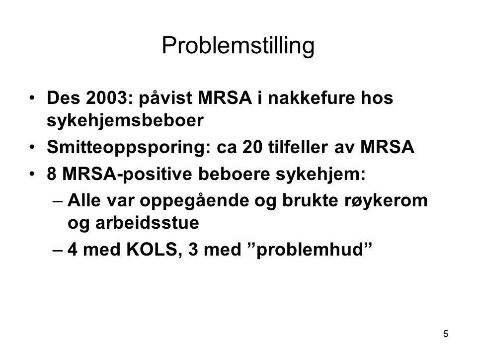 5 Problemstilling •Des 2003: påvist MRSA i nakkefure hos sykehjemsbeboer •Smitteoppsporing: ca 20 tilfeller av MRSA •8 MRSA-positive beboere sykehjem: