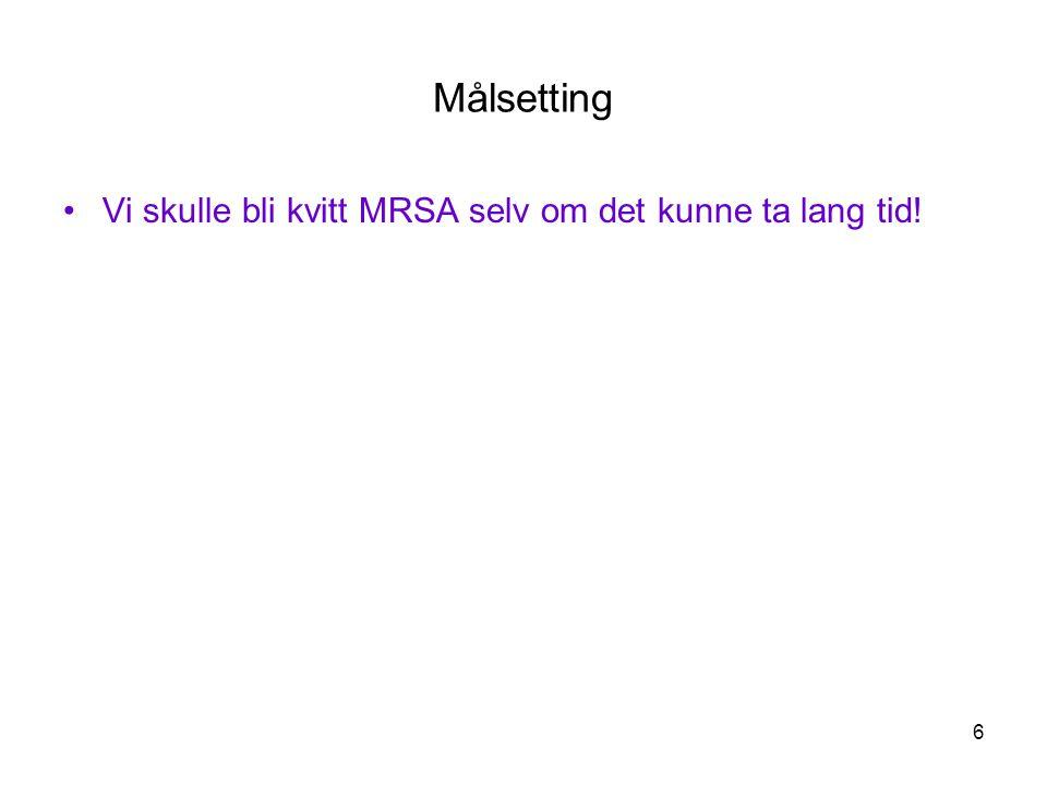 6 Målsetting •Vi skulle bli kvitt MRSA selv om det kunne ta lang tid!
