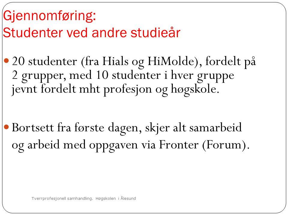 Tverrprofesjonell samhandling. Høgskolen i Ålesund Gjennomføring: Studenter ved andre studieår  20 studenter (fra Hials og HiMolde), fordelt på 2 gru
