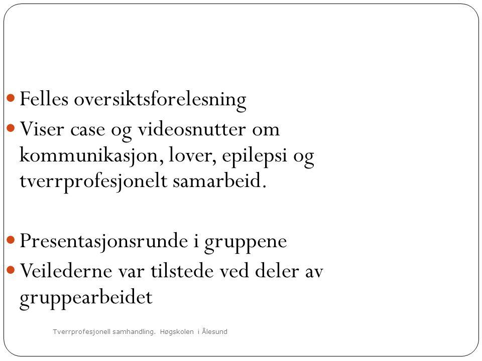 Tverrprofesjonell samhandling. Høgskolen i Ålesund  Felles oversiktsforelesning  Viser case og videosnutter om kommunikasjon, lover, epilepsi og tve