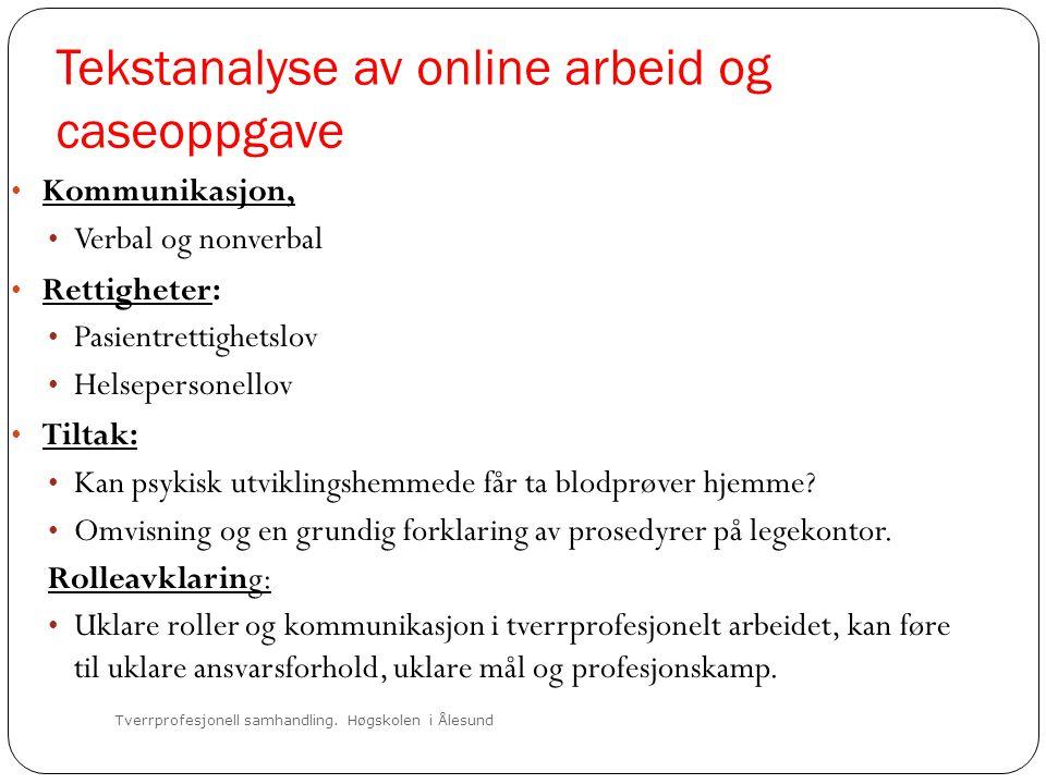 Tekstanalyse av online arbeid og caseoppgave Tverrprofesjonell samhandling. Høgskolen i Ålesund • Kommunikasjon, • Verbal og nonverbal • Rettigheter: