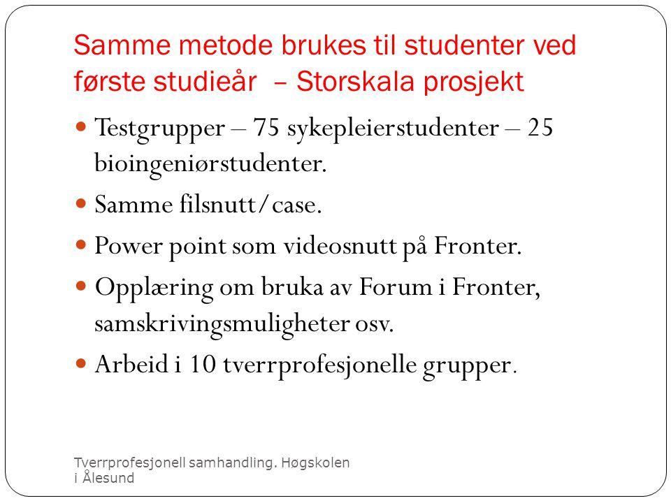 Samme metode brukes til studenter ved første studieår – Storskala prosjekt Tverrprofesjonell samhandling. Høgskolen i Ålesund  Testgrupper – 75 sykep
