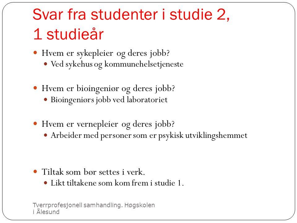 Svar fra studenter i studie 2, 1 studieår Tverrprofesjonell samhandling. Høgskolen i Ålesund  Hvem er sykepleier og deres jobb?  Ved sykehus og komm
