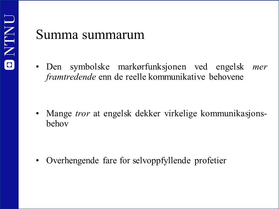 Summa summarum •Den symbolske markørfunksjonen ved engelsk mer framtredende enn de reelle kommunikative behovene •Mange tror at engelsk dekker virkeli