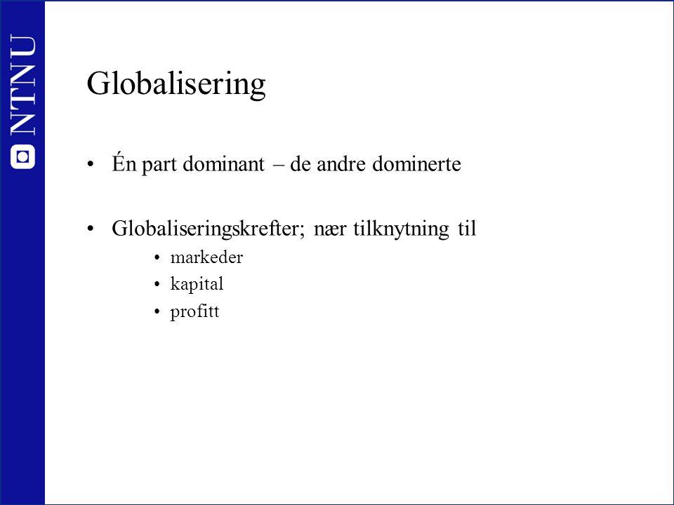 Globalisering •Én part dominant – de andre dominerte •Globaliseringskrefter; nær tilknytning til •markeder •kapital •profitt