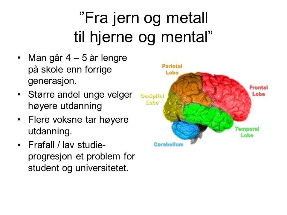 """""""Fra jern og metall til hjerne og mental"""" •Man går 4 – 5 år lengre på skole enn forrige generasjon. •Større andel unge velger høyere utdanning •Flere"""
