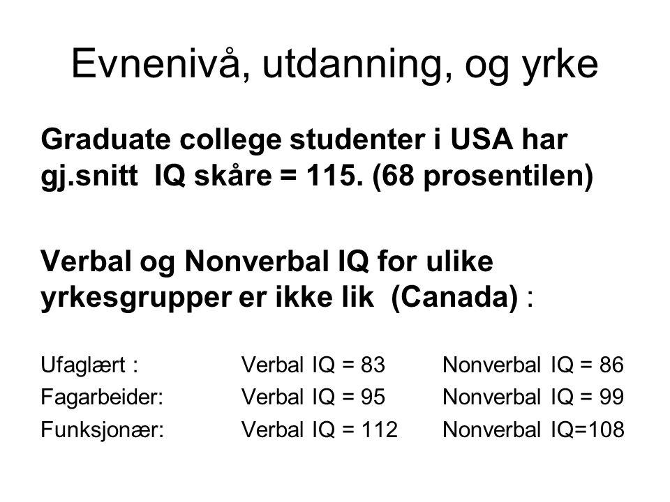 Evnenivå, utdanning, og yrke Graduate college studenter i USA har gj.snitt IQ skåre = 115. (68 prosentilen) Verbal og Nonverbal IQ for ulike yrkesgrup