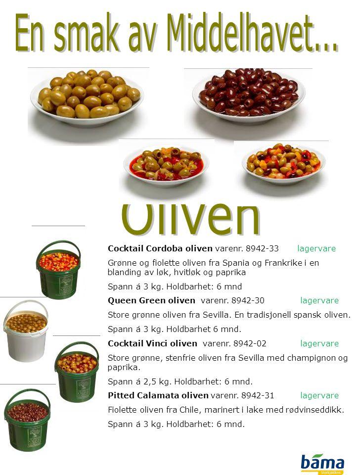 Cocktail Cordoba oliven varenr. 8942-33lagervare Grønne og fiolette oliven fra Spania og Frankrike i en blanding av løk, hvitløk og paprika Spann á 3