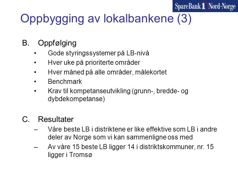 Oppbygging av lokalbankene (3) B.Oppfølging •Gode styringssystemer på LB-nivå •Hver uke på prioriterte områder •Hver måned på alle områder, målekortet •Benchmark •Krav til kompetanseutvikling (grunn-, bredde- og dybdekompetanse) C.Resultater –Våre beste LB i distriktene er like effektive som LB i andre deler av Norge som vi kan sammenligne oss med –Av våre 15 beste LB ligger 14 i distriktskommuner, nr.