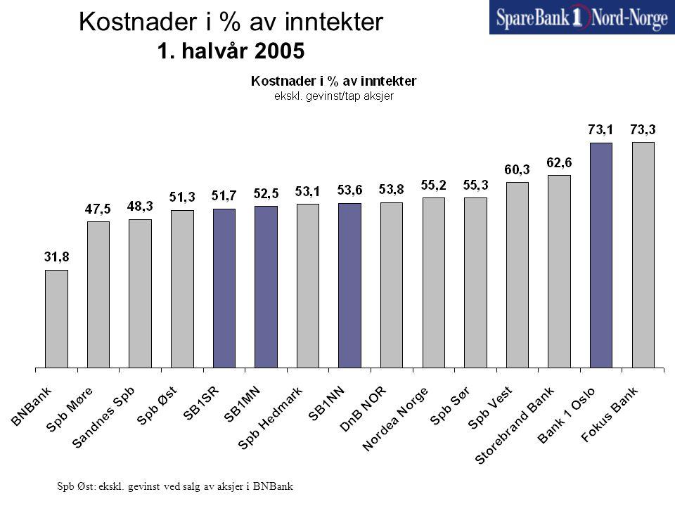 Kostnader i % av inntekter 1. halvår 2005 Spb Øst: ekskl. gevinst ved salg av aksjer i BNBank