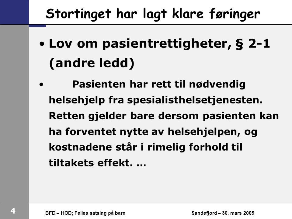 4 BFD – HOD; Felles satsing på barnSandefjord – 30.