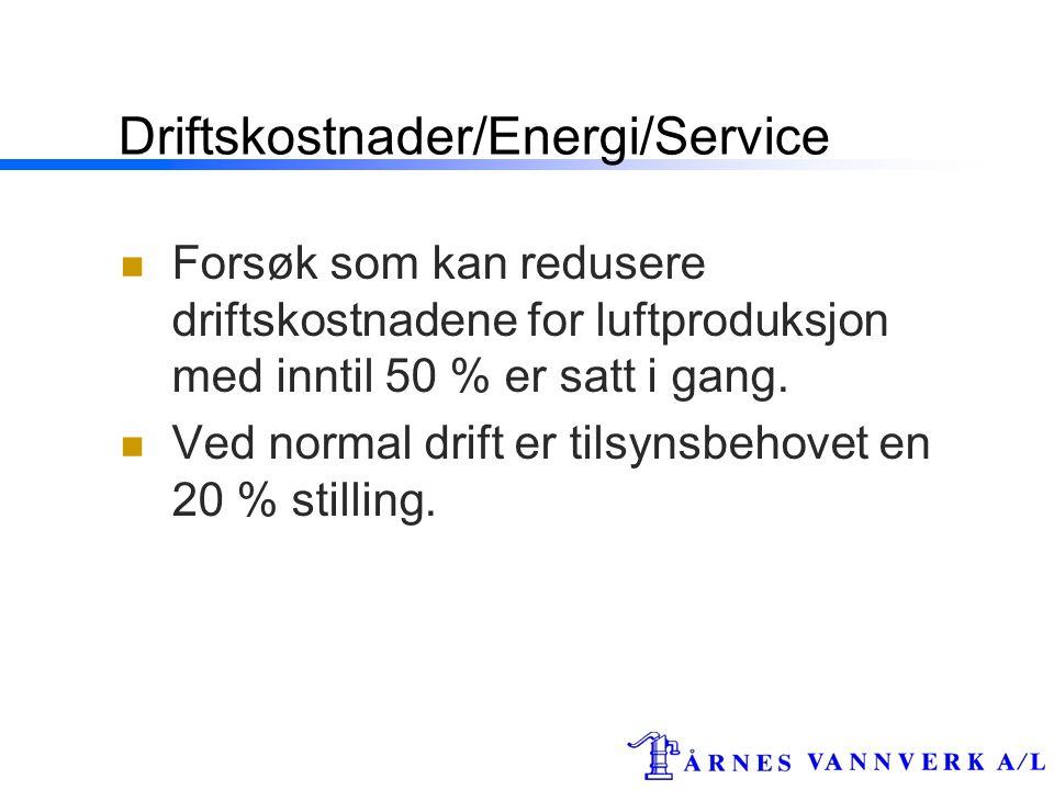 Driftskostnader/Energi/Service  Forsøk som kan redusere driftskostnadene for luftproduksjon med inntil 50 % er satt i gang.