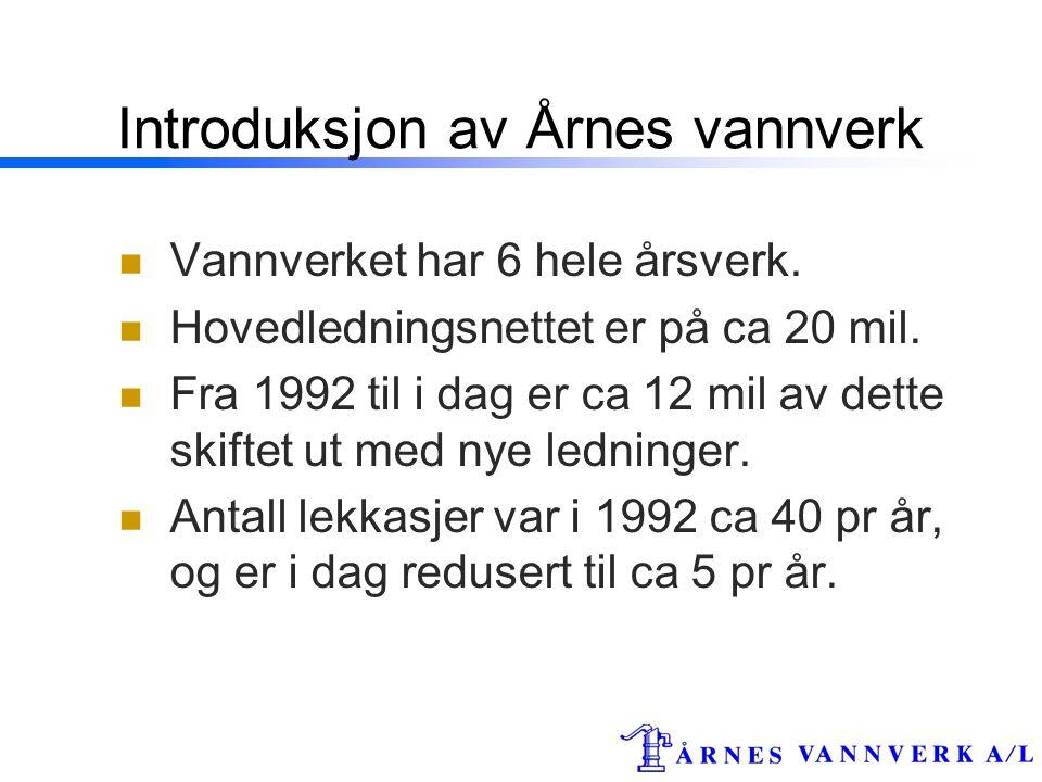 Introduksjon av Årnes vannverk  Vannverket har 6 hele årsverk.