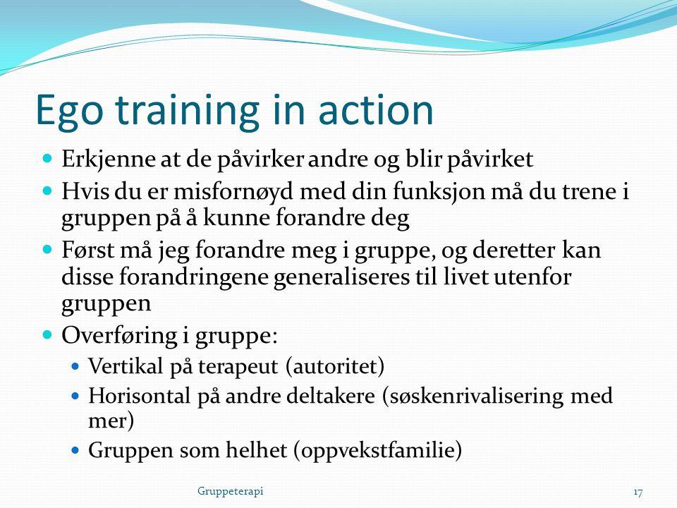 Ego training in action  Erkjenne at de påvirker andre og blir påvirket  Hvis du er misfornøyd med din funksjon må du trene i gruppen på å kunne fora