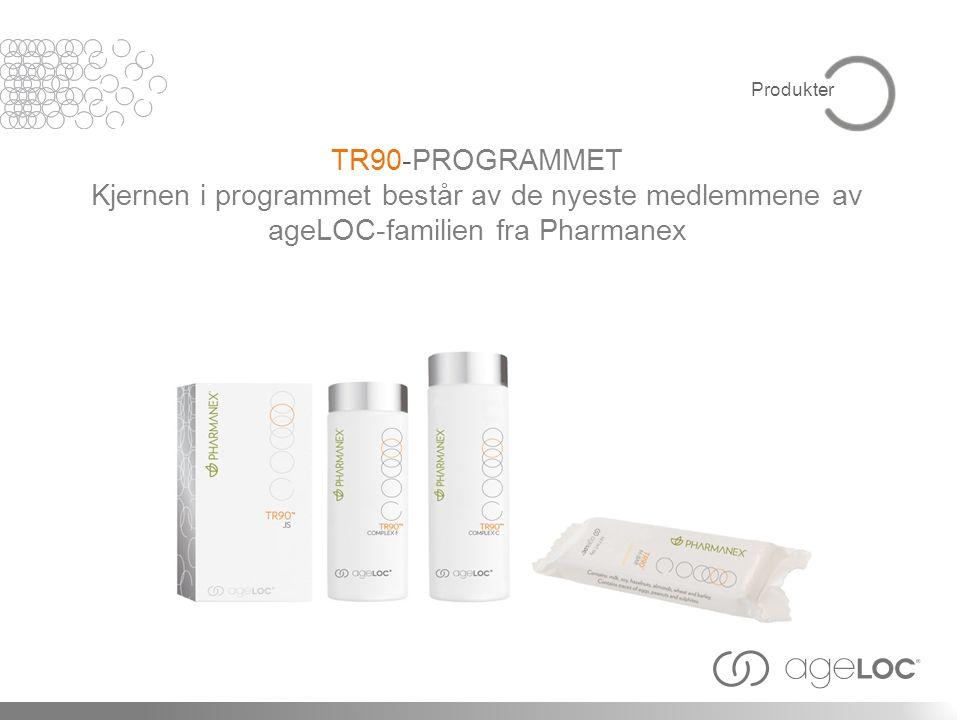 TR90-PROGRAMMET Kjernen i programmet består av de nyeste medlemmene av ageLOC-familien fra Pharmanex Produkter