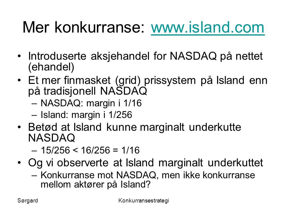 SørgardKonkurransestrategi Mer konkurranse: www.island.comwww.island.com •Introduserte aksjehandel for NASDAQ på nettet (ehandel) •Et mer finmasket (g