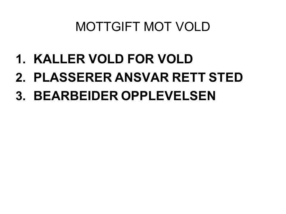 MOTTGIFT MOT VOLD 1. KALLER VOLD FOR VOLD 2. PLASSERER ANSVAR RETT STED 3. BEARBEIDER OPPLEVELSEN