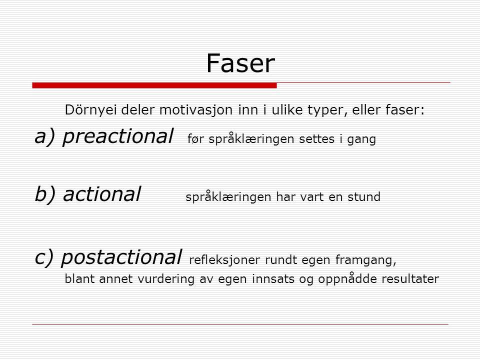 Faser Dörnyei deler motivasjon inn i ulike typer, eller faser: a) preactional før språklæringen settes i gang b) actional språklæringen har vart en stund c) postactional refleksjoner rundt egen framgang, blant annet vurdering av egen innsats og oppnådde resultater