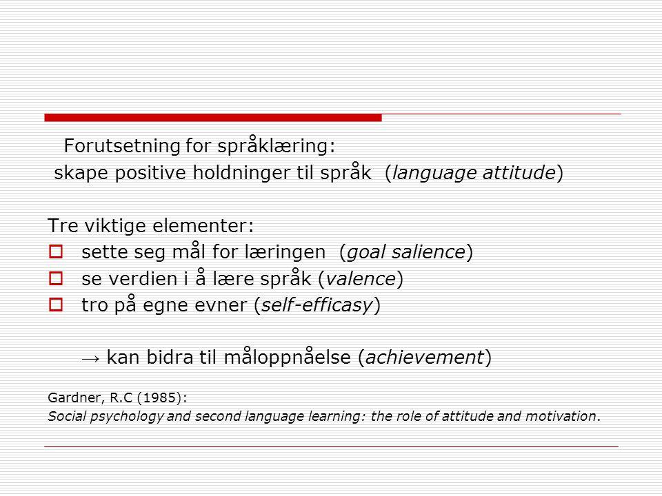 Forutsetning for språklæring: skape positive holdninger til språk (language attitude) Tre viktige elementer:  sette seg mål for læringen (goal salience)  se verdien i å lære språk (valence)  tro på egne evner (self-efficasy) → kan bidra til måloppnåelse (achievement) Gardner, R.C (1985): Social psychology and second language learning: the role of attitude and motivation.