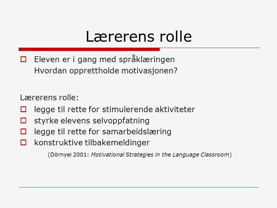 Lærerens rolle  Eleven er i gang med språklæringen Hvordan opprettholde motivasjonen.
