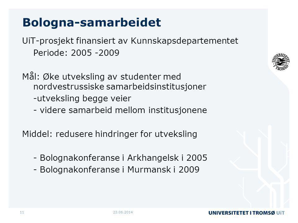 23.06.201411 Bologna-samarbeidet UiT-prosjekt finansiert av Kunnskapsdepartementet Periode: 2005 -2009 Mål: Øke utveksling av studenter med nordvestru