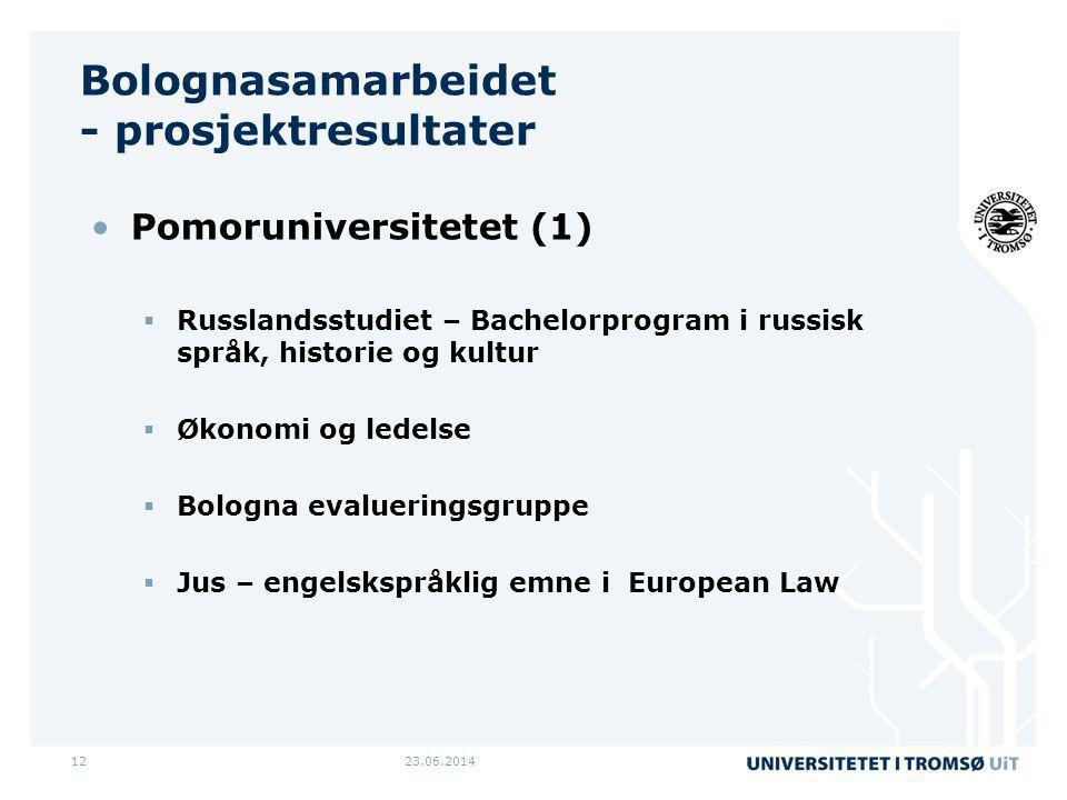 23.06.201412 Bolognasamarbeidet - prosjektresultater •Pomoruniversitetet (1)  Russlandsstudiet – Bachelorprogram i russisk språk, historie og kultur