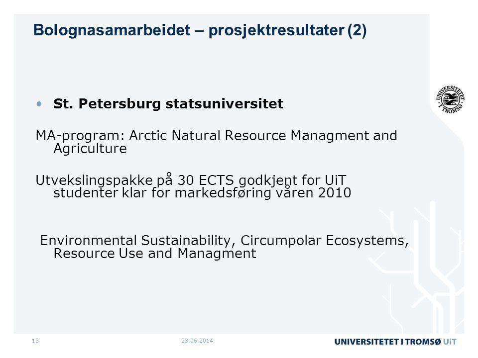 23.06.201413 •St. Petersburg statsuniversitet MA-program: Arctic Natural Resource Managment and Agriculture Utvekslingspakke på 30 ECTS godkjent for U