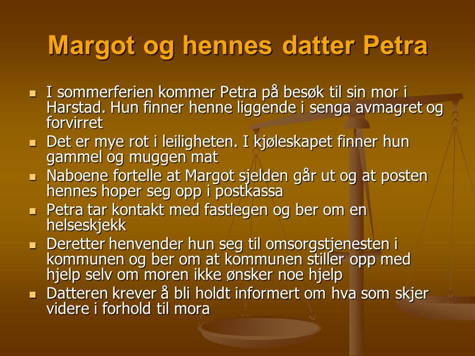 Margot og hennes datter Petra  I sommerferien kommer Petra på besøk til sin mor i Harstad. Hun finner henne liggende i senga avmagret og forvirret 